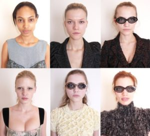 S lijeva na desno (prvi red): Ariel Meredith, Kasia Struss, Regina Feoktistova, S lijeva na desno (drugi red): Lara Stone, Rasa Zukauskaite, Rianne Ten Haken